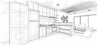 Innenarchitektur Der Modernen Küche Rahmen Skizze 3d Draht