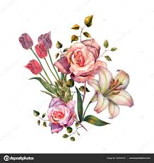 watercolor beautiful bouquet flowers gray background lily rose ilration elements stock photo