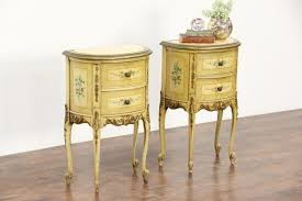 pair hand painted 1930 vine end tables or nightstands marble tops