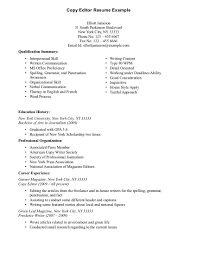 Sample Copy Editoresume For Positions Cover Letter Editing