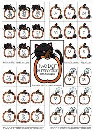 Halloween - Two Digit Subtraction With Regrouping Center Game ...