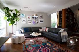 Modern Living Room With Moroccan Rug And Fiddle Leaf Fig (Image 11 of 25)