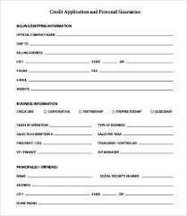 Personal Credit Application Form Credit Check Form For Business