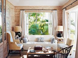 Living Room:Small Tropical Living Room Interior Designs With Wooden Wall  And Twin Table Lamp