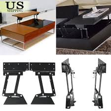 pair 2x lift up top coffee table lifting frame mechanism gas hydraulic hinge diy