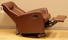 barcalounger grissom ii swing rocker glider recliner in brown leather