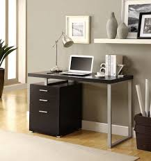 desk contemporary square black wooden file cabinet desk grey wall paint color chrome cool table