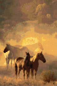 Wild Horses In Misty Morning Cross Stitch Pattern Pdf Easy Chart With One Color Per Sheet And Traditional Chart Two Charts In One