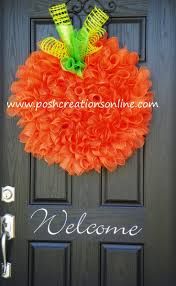 Pumpkin Spiral Curly Q Wreath, Fall Decor, Halloween Wreath, Pumpkin Wreath
