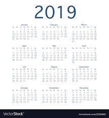 2019 Calendar Year Simple Calendar Layout For