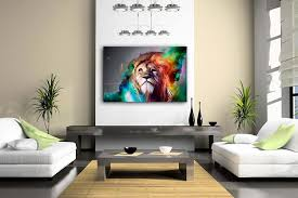 wall art paintings for living roomAmazoncom Colorful Lion Artistic Wall Art Painting The Picture