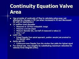 24 continuity equation valve area