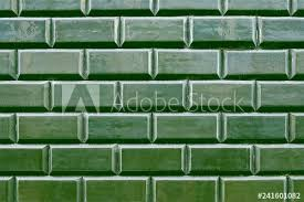 old green tile brick wall background