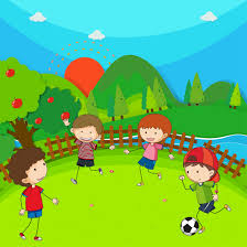 Four children playing football in the park 413395 Vector Art at Vecteezy