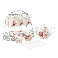 ufengke 15 Piece European Ceramic <b>Tea</b> Sets, <b>Bone China Coffee</b> ...