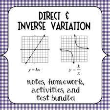 best education algebra variation d i images  direct and inverse variation notes homework activities and test bundle algebra 1algebra helpteaching