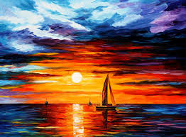 touch of horizon palette knife oil painting on canvas by leonid afremov size 40