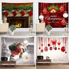 2018 christmas art home wall hanging tapestry bell santa fireplace printed wall ornamentation xmas wall decor on christmas wall art tapestry with 2018 christmas art home wall hanging tapestry bell santa fireplace