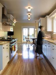 lighting for galley kitchen. Galley Kitchen Lighting With Laminate Flooring And Breakfast Nook Cabinet For H