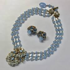 Designing Jewelry With Glass Beads Vintage Miriam Haskell Signed Blue Glass Bead Rhinestone