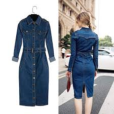 Jeans Dress Designs Wholesale Summer Discount Work New Women Frock Design For Ladies Long Sleeve Jeans Dress Women Elegant Buy Long Jeans Dress Frock Design For