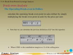 break even analysis equation fin man 5 break even point and leverage analysis