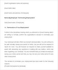 Employee Termination Templates Sample Termination Letter With Notice Period Job