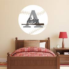 nursery wall decals baseball name and initial personalized name wall decal 40 by 40