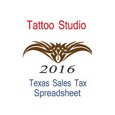 Texas Tattoo Studio Accounts Sales Tax Spreadsheet For 2016 Year End