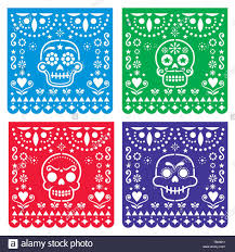 Papel Picado Designs For Day Of The Dead Papel Picado Design With Sugar Skulls Mexican Paper Cut Out