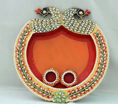 Pooja Ki Thali Design Peacock Design Pooja Thali With 2 Diyas Clay Work Thali