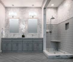 bathroom remodel gray tile. Wonderful Bathroom Remodel Ideas With Enclosure Shower Combined Corner Shelves Also Subway Tiles And Gray Vanity Unit Unify Base Cabinet Incorporates Twin Tile E