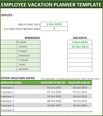Employee Vacation Planner Free Hr Excel Template For Managers
