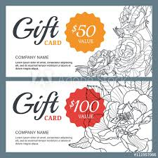 Coupon Outline Template Vector Gift Voucher Template With Roses Flowers Business
