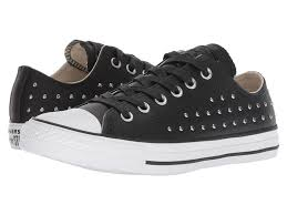 select converse women converse chuck taylor all star leather studs ox black black silver converse sneakers reflective irk6462