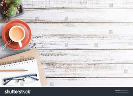 top office table cup. Wood Office Desk Table With Notebook, Cup Of Coffee And Glasses,flat Lay. Top P