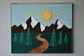 string art mountains wood mountain wall