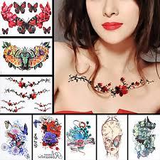 719 8ks Růže List Květina Motýl Rameno Zadní Vodotěsný Tetování ženy Muži Body Art Dočasné Tetování Nálepka Designu