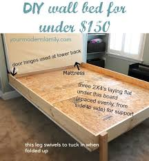 diy queen bed frame without power tools unique diy murphy bed diy wall bed for