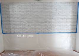 Painting Fake Brick Paneling Junk Chic Cottage French Farmhouse Faux Brick Wall