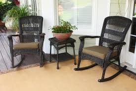 great outdoor patio furniture with three piece grey wicker rocker impressive front porch design set feat