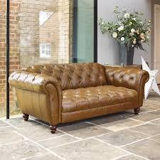 wellington 2 seater semi aniline leather chesterfield sofa caramel