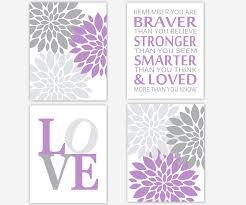 baby girls canvas nursery wall art purple lavender gray grey flower burst dahlia mums you are braver stronger canvas prints baby nursery decor