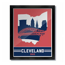 cleveland ohio skyline poster print wall art red blue baseball on cleveland sports teams wall art with cleveland ohio skyline print red blue baseball cleveland ohio