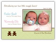 Boy Or Girl Baby Announcement Boy Girl Twins Birth Announcements