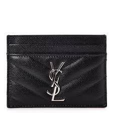 saint lau grain de poudre matele chevron credit card case black 239198