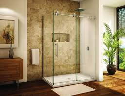 view in gallery frameless sliding glass door shower enclosure for a modern bathroom