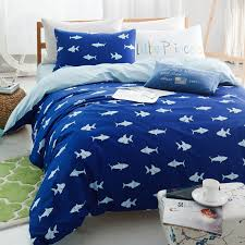 navy blue and light blue marine life shark print cool