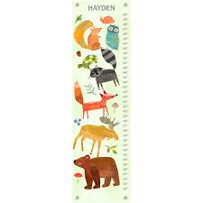 Woodland Growth Chart Textured Woodland Animals By Amy Schimler Safford Personalized Canvas Growth Chart