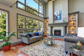 2 story living room with large area rug
